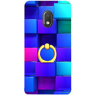 Casotec Blocks Rainbow 3D Graphics Design 3D Printed Hard Back Case Cover with Metal Ring Kickstand for Motorola Moto G4 Play
