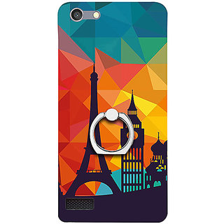 Casotec Colored Paris Design 3D Printed Hard Back Case Cover with Metal Ring Kickstand for Oppo Neo 7