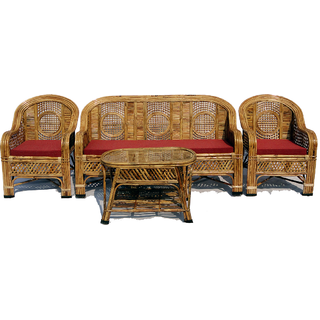 Cane Sofa Set with Table