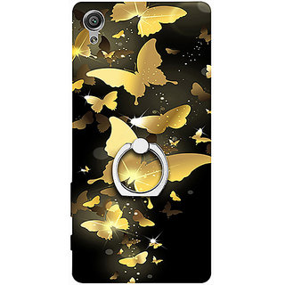 Casotec Golden Butterfly Pattern Design 3D Printed Hard Back Case Cover with Metal Ring Kickstand for Sony Xperia XA