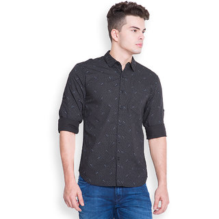 Highlander Black Full Sleeves Casual Shirt For Men