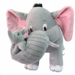 Grey Mother  Elephant with Single Baby Stuffed Soft Plush Toy 32 cm