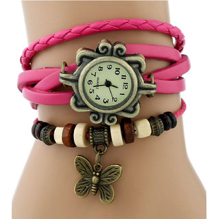 Vintage Round Dial Multicolor Leather Strap Analog Watch For Women