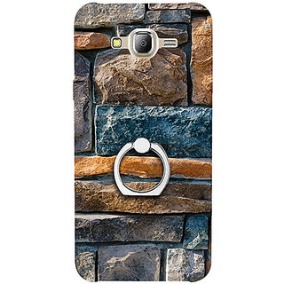Casotec Decorative Stone Cladding Design 3D Printed Hard Back Case Cover with Metal Ring Kickstand for Samsung Galaxy J2 (2016)