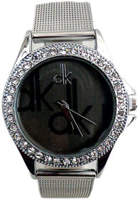 Dk Round Dial Silver Metal Analog Watch For Women