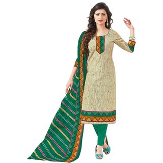 Celebration Womens green cotton Dress Material Free Size