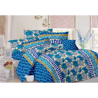 Valtellina Floral Design Sky Colour Cotton Double Bed Sheet with 2 Pillow Cover - TC-140