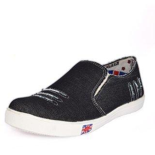 Blue Pop Men Black Slip on Casual Shoes