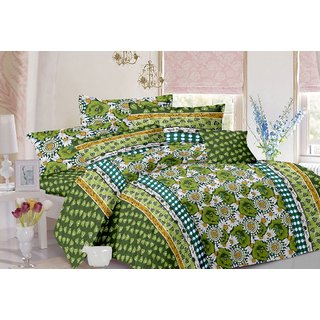 Valtellina Floral Design Green Colour Cotton Double Bed Sheet with 2 Pillow Cover - TC-140