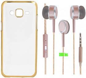 Golden Chrome TPU Soft Back Cover and Scented Rose Gold Earphones with Mic for HTC Desire 620