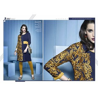 Embroidered Party Wear Lemon Georgette Kurtis