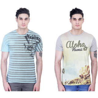 John Caballo Men's Round Neck Half Sleeve T-Shirt Combo Pack of 2-Multicolor