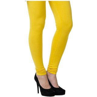 Women's Cotton Blended Churidar Leggings - Yellow