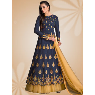 Ladyview Navy Blue  Cream Embroidered Banglori Silk Anarkali Suit
