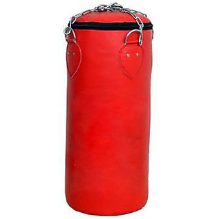 Facto Power 4 Feet Length RED Color Unfilled Synthetic Leather Punching Bag