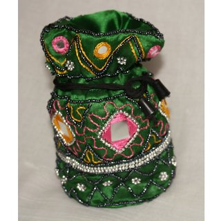 Beads and Mirror Work Pouch Bag