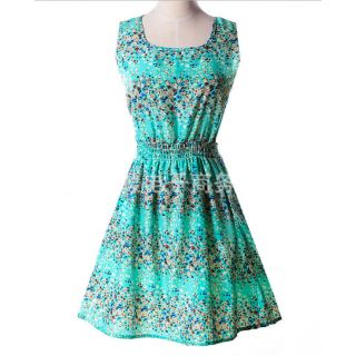 Printed Polyester DressLight Blue+Small Floral