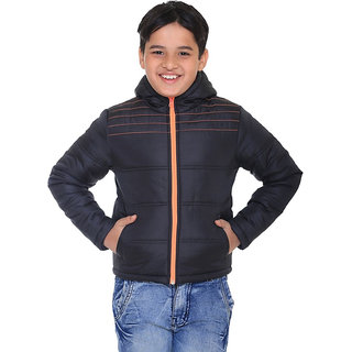 Kids Black Polyester Jacket