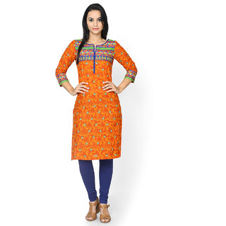 Rangriti Orange Printed Kurta