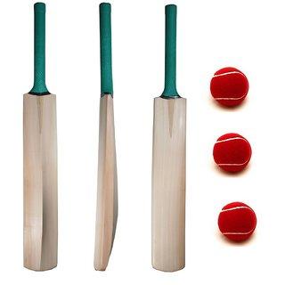Facto Power Nude Kashmir Willow Cricket Bat With Half Cane Handle (Model : 1331) + 3 Balls