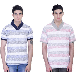 John Caballo Men's V Neck Half Sleeve T-Shirt Combo Pack of 2-Multicolor