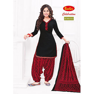 celebrations womens cotton patiyala dress material (red black free size)