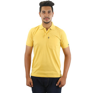 Go-On Yellow Polo Neck Half Sleeve T-Shirt For Men'S