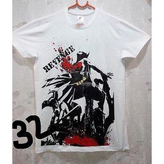 Cell Art's White Round Neck Half Sleeve T-shirt For Men