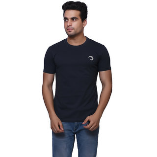 Oneliner Black Round Neck Half Sleeve T-shirt For Men
