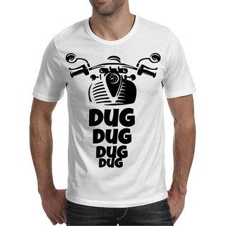 Oneliner White Round Neck Half Sleeve T-shirt For Men