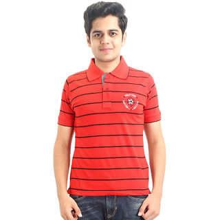 Go-On Red Polo Neck Half Sleeve T-Shirt For Men'S