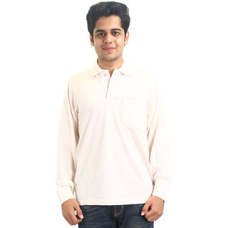 Go-On Peach Polo Neck Long Sleeve T-Shirt For Men'S