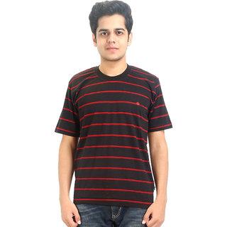 Go-On Black Round Neck Half Sleeve T-Shirt For Men'S