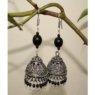 Brass Metal Jhumka with Black Beads