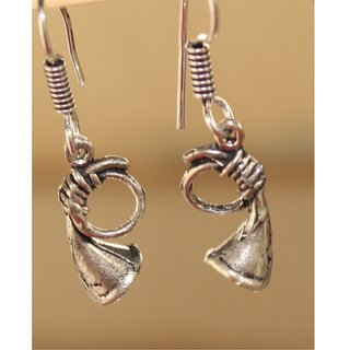 Black Metal Trumpet Earrings