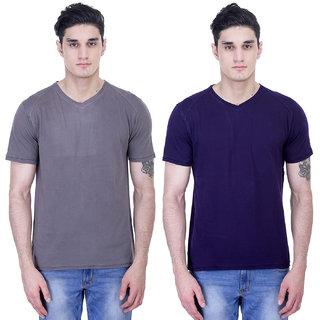 John Caballo Men's V Neck Half Sleeve T-Shirt Combo Pack of 2-Multicolor