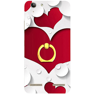 Casotec Multiple Hearts Design 3D Printed Hard Back Case Cover with Metal Ring Kickstand for Lenovo Vibe K5 Plus