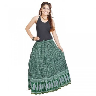Shree Fashion Art Rajasthani Dark Green Fine Cotton Skirt