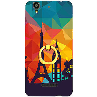 Casotec Colored Paris Design 3D Printed Hard Back Case Cover with Metal Ring Kickstand for YU Yureka Plus