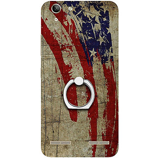 Casotec Vintage American Flag Design 3D Printed Hard Back Case Cover with Metal Ring Kickstand for Lenovo Vibe K5 Plus