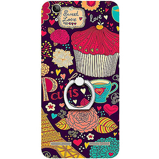 Casotec Paris Flower Love Design 3D Printed Hard Back Case Cover with Metal Ring Kickstand for Lenovo Vibe K5 Plus