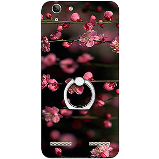 Casotec Pink Flowers Design 3D Printed Hard Back Case Cover with Metal Ring Kickstand for Lenovo Vibe K5 Plus
