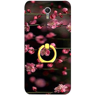Casotec Pink Flowers Design 3D Printed Hard Back Case Cover with Metal Ring Kickstand for Lenovo ZUK Z1