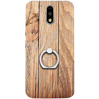 Casotec Wooden Texture Design 3D Printed Hard Back Case Cover with Metal Ring Kickstand for Motorola Moto G4 Plus