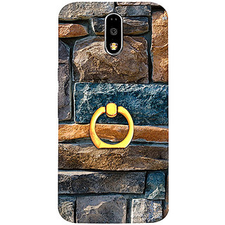 Casotec Decorative Stone Cladding Design 3D Printed Hard Back Case Cover with Metal Ring Kickstand for Motorola Moto G4 Plus