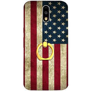 Casotec Vingate USA Flag Design 3D Printed Hard Back Case Cover with Metal Ring Kickstand for Motorola Moto G4 Plus
