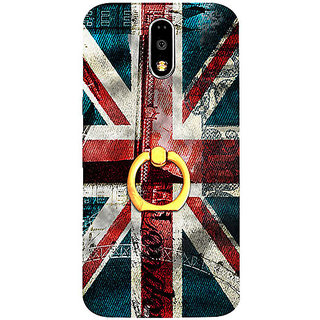 Casotec London Flag wallpaper Design 3D Printed Hard Back Case Cover with Metal Ring Kickstand for Motorola Moto G4 Plus