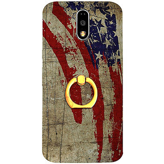 Casotec Vintage American Flag Design 3D Printed Hard Back Case Cover with Metal Ring Kickstand for Motorola Moto G4 Plus