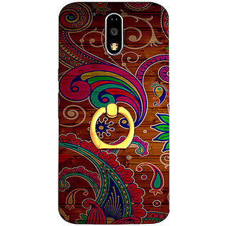 Casotec Wooden Pattern Print Design 3D Printed Hard Back Case Cover with Metal Ring Kickstand for Motorola Moto G4 Plus