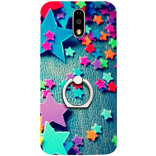 Casotec Colorful Stars Design 3D Printed Hard Back Case Cover with Metal Ring Kickstand for Motorola Moto G4 Plus